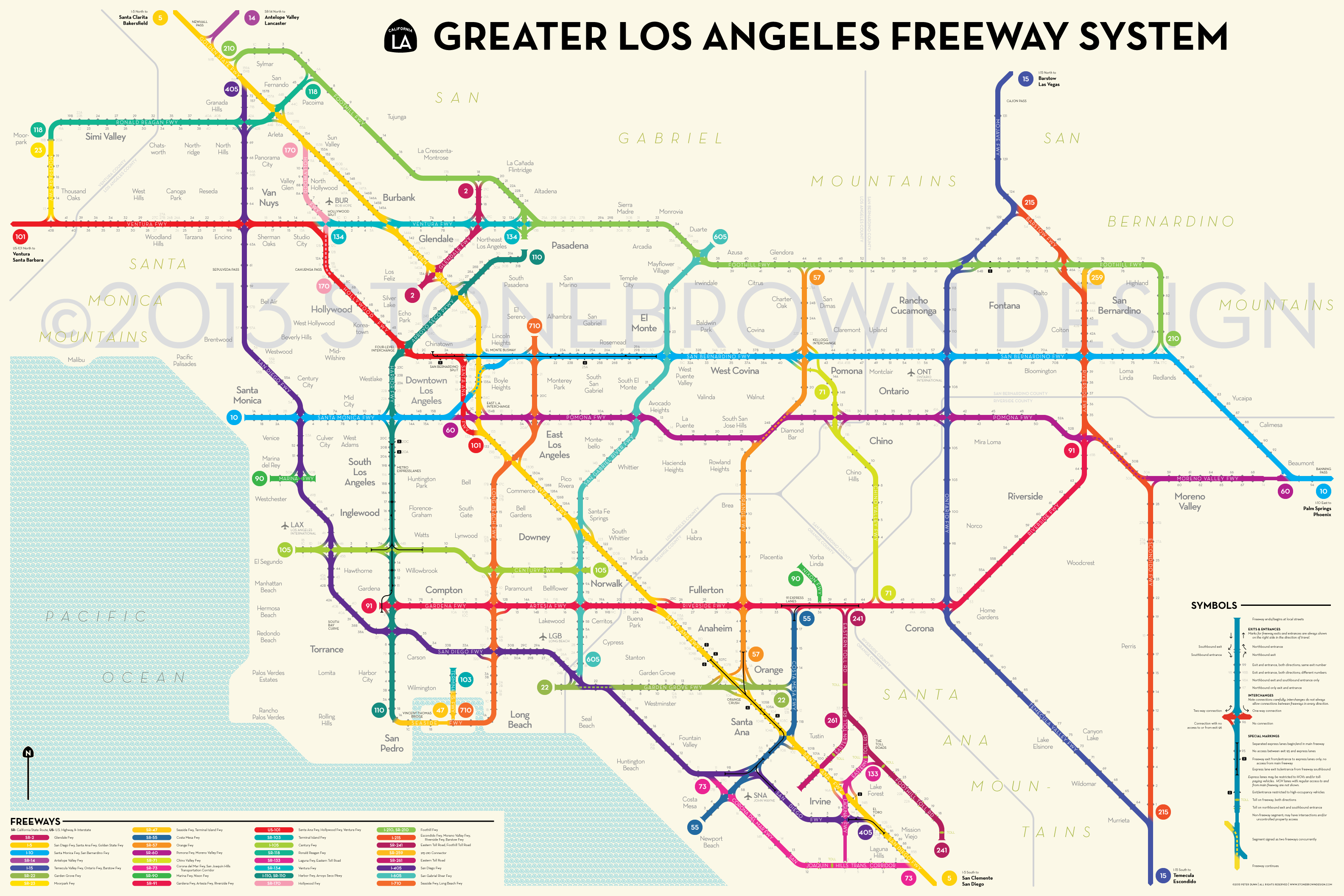 Los Angeles Freeways Stonebrown Design - Us map with cities and freeways